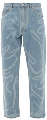 Martine Rose Paint-stroke Straight-leg Jeans - Mens - Light Blue