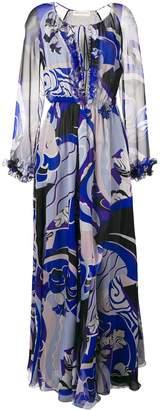 Emilio Pucci Hanami Print Ruffle Front Silk Dress