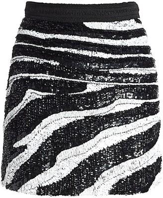 Amen Zebra Sequin Mini Skirt