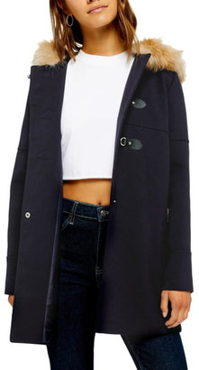 Topshop Faux Fur Trim Duffle Coat