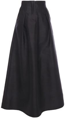 Giorgio Armani Flared Mulberry Silk And Cotton-blend Shantung Maxi Skirt
