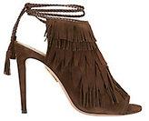 Aquazzura Pocahontas Suede Fringe Sandals: Chocolate