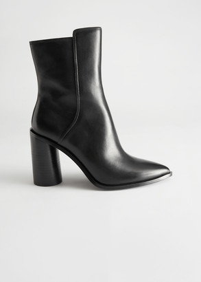 And other stories Asymmetric Shaft Leather Ankle Boots