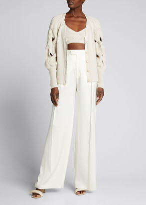 Jonathan Simkhai Kinley Open-Cable-Knit Puff-Sleeve Cardigan