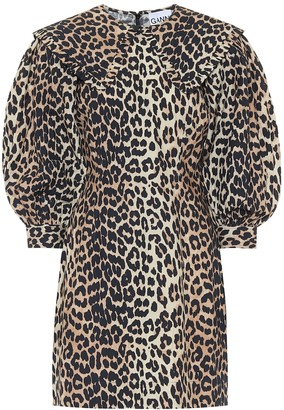 Ganni Leopard-print cotton-poplin dress