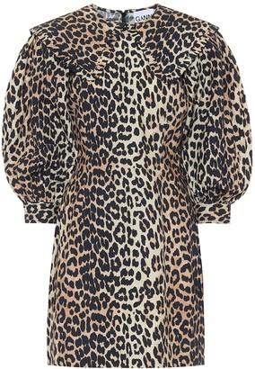 Ganni Leopard-print cotton-poplin dress