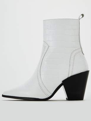 Office Avail Western Ankle Boots - White