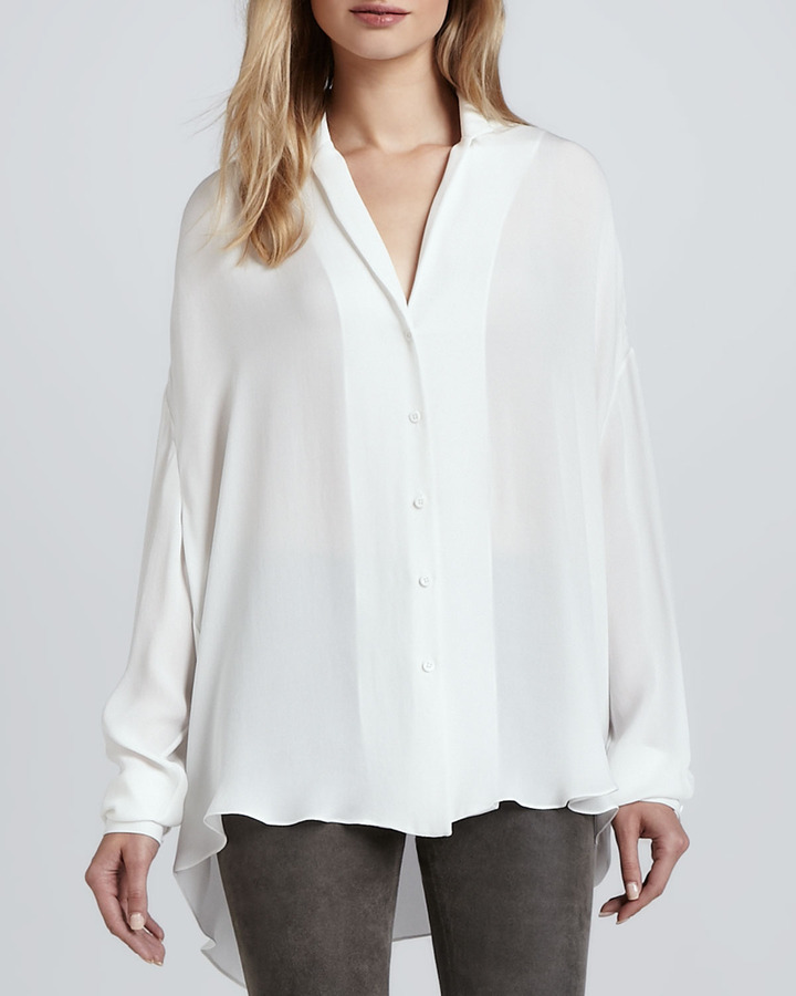 Theyskens' Theory Brana Hi-Lo Silk Blouse