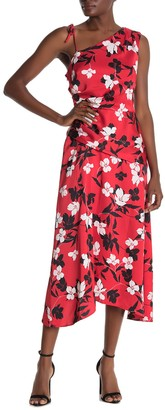BCBGMAXAZRIA One Shoulder Floral Print Dress