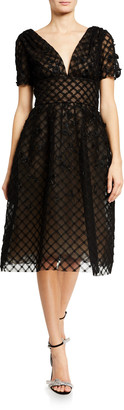 Oscar de la Renta Off-the-Shoulder Tulle Cocktail Dress