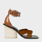 Paul Smith Women's Tan Suede And Leather 'Delta' Heeled Sandals