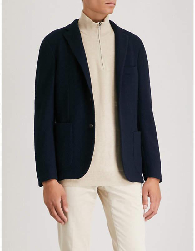 SLOWEAR Slim-fit single-breasted bouclé jacket