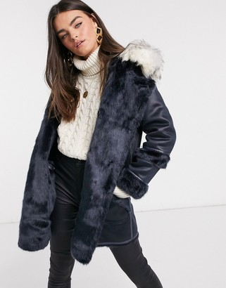 Urban Code Urbancode Axa reversible shearling and faux fur coat in navy