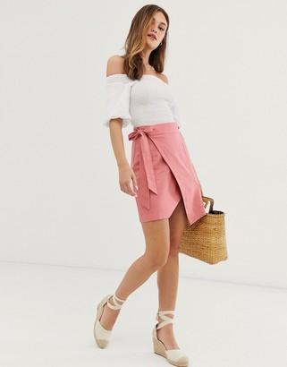 Asos DESIGN utility linen wrap mini skirt