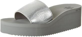 Flip*Flop Womens Pool Wedge Metallic Open Toe Sandals silver Size: 7.5 UK (41 EU)