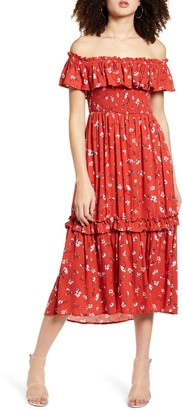 ALL IN FAVOR Off the Shoulder Tiered Ruffle Midi Dress