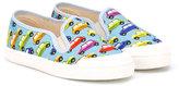 Pépé car print deck shoes - kids - Cotton/Leather/rubber - 24