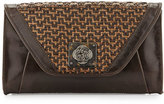 Elliott Lucca Bali Cordoba Basketweave Leather Clutch Bag, Java Mist