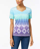 Alfred Dunner All Aflutter Embellished Printed T-Shirt