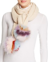 Jocelyn Knit Scarf with Fox Fur Pom-Poms