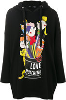 Love Moschino printed oversized hoodie - women - Cotton/Polyester - 42