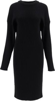 Bottega Veneta RIBBED KNIT MIDI DRESS S Black Wool, Cotton