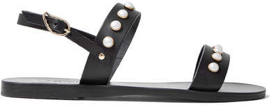 Ancient Greek Sandals Clio Faux Pearl-embellished Leather Sandals - Black