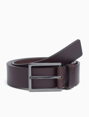 Calvin Klein Leather Rectangular Buckle Belt