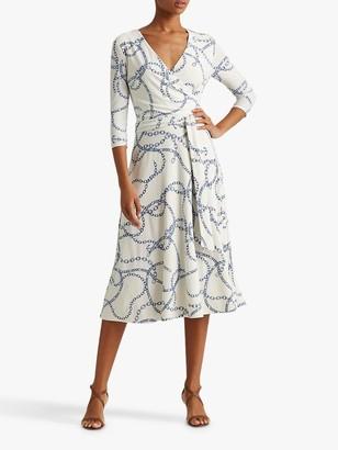 Ralph Lauren Ralph Carlyna Chain Print Midi Dress, Cream/Sapphire