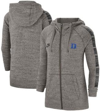 Nike Women's Heathered Gray Duke Blue Devils Gym Vintage Sleeve Chant Raglan Full-Zip Hoodie