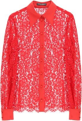 Dolce & Gabbana CORDONETTO LACE SHIRT 40 Red Cotton, Silk