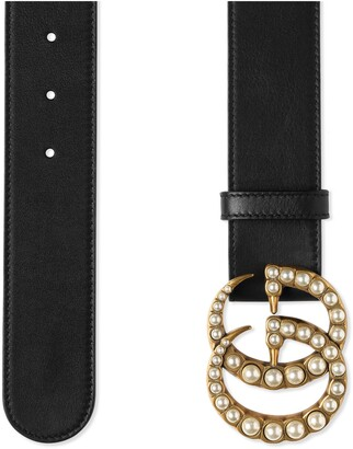 Gucci Leather belt with pearl DoubleG