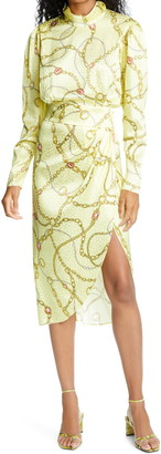 Ronny Kobo Kaira Long Sleeve Silk Blend Jacquard Dress