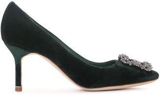 Manolo Blahnik Hangisi 70 velvet emerald pumps