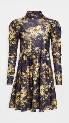 Sea Dogwood Floral Long Sleeve Dress