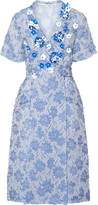 Miu Miu Floral-appliquéd Silk-blend Cloqué Wrap Dress - Light blue