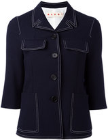 Marni contrast stitched jacket - women - Silk/Cotton/Virgin Wool - 40
