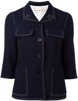 Marni contrast stitched jacket - women - Silk/Cotton/Virgin Wool - 44