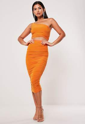 Missguided Orange Ruched Slinky Crop Top And Midi Skirt Co Ord Set