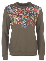 Golddigga Womens Long Puff Crew Sweater Jumper Pullover Sleeve Neck Print Floral
