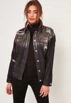 Missguided Black Holographic Coated Denim Jacket