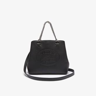 Lacoste Women's Croco Crew Embossed Logo Small Leather Tote