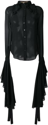 Saint Laurent Sheer Shirt With Dramatic Sleeves