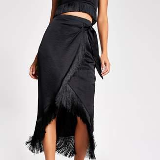 River Island Womens Black fringe satin wrap midi skirt
