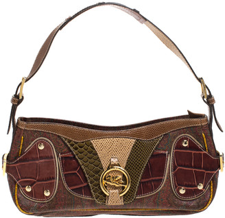 Etro Multicolor Paisley Print Coated Canvas Exotic Embossed Leather Shoulder Bag