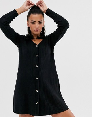 Asos Design DESIGN Long sleeve super soft rib button through swing dress-Black