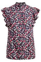 Ralph Lauren Pleated Crepe A-Line Skirt Multi 10P