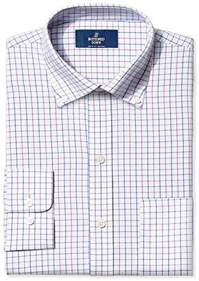 Buttoned Down Classic Fit Pattern Dress Shirt, (Grey/Purple/Blue Check)