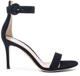 Gianvito Rossi Suede Portofino Heels in Black.