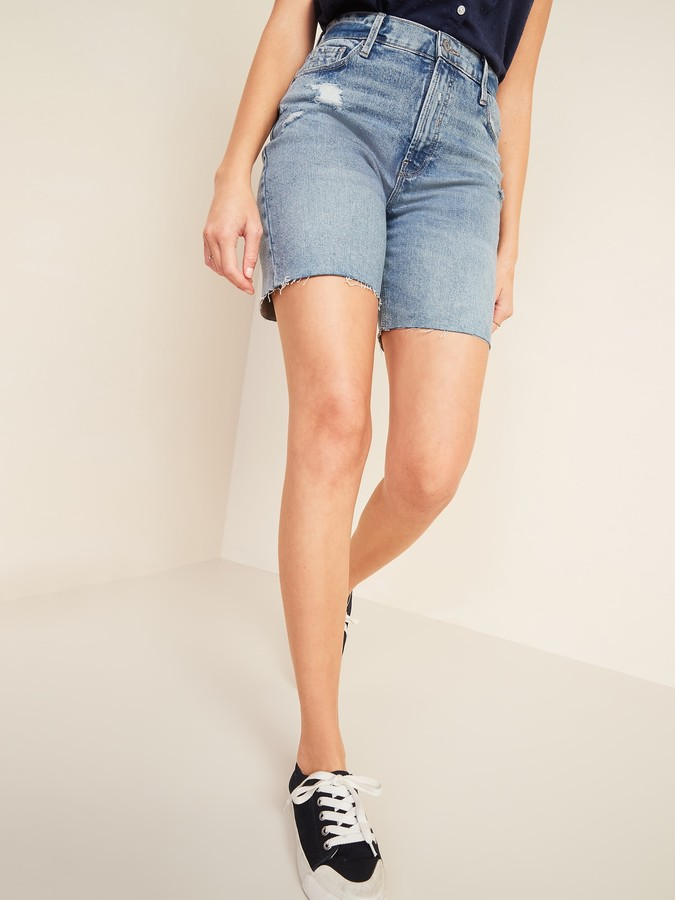 Old Navy Extra High-Waisted Sky-Hi Distressed Cut-Off Jean Shorts for Women -- 7-inch inseam